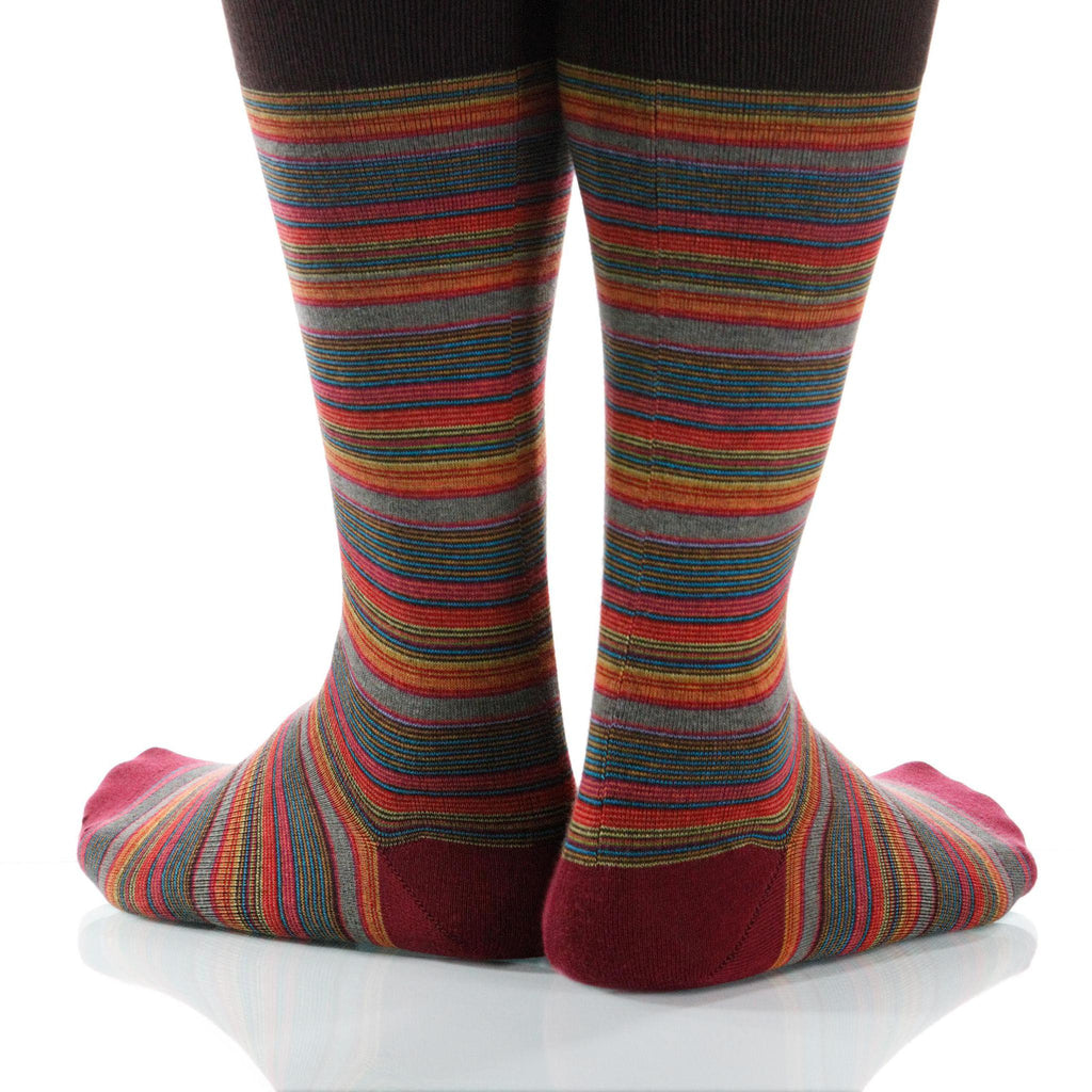 Cinnabar Strata Socks; Men's or Women's Supima Cotton Red/Orange XOAB