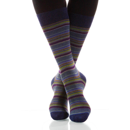 Cobalt Strata Socks; Men's or Women's Supima Cotton Blue/Violet XOAB