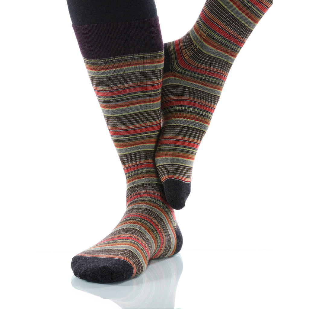 Tigereye Strata Socks; Men's or Women's Supima Cotton Orange/Red XOAB