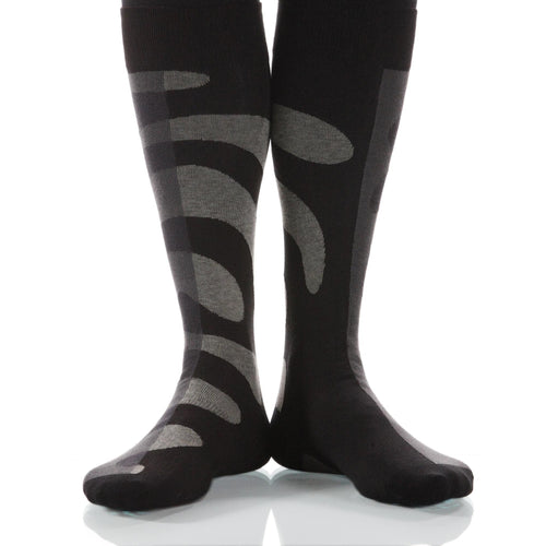 Gray Tango Socks; Men's or Women's Supima Cotton - Gray/Black - XOAB