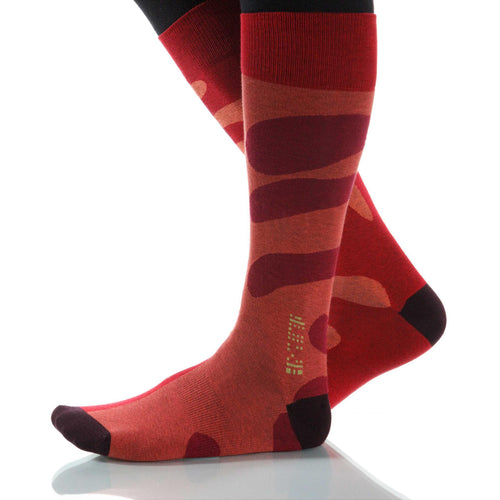 Red Tango Socks; Men's or Women's Supima Cotton - Red/Orange - XOAB