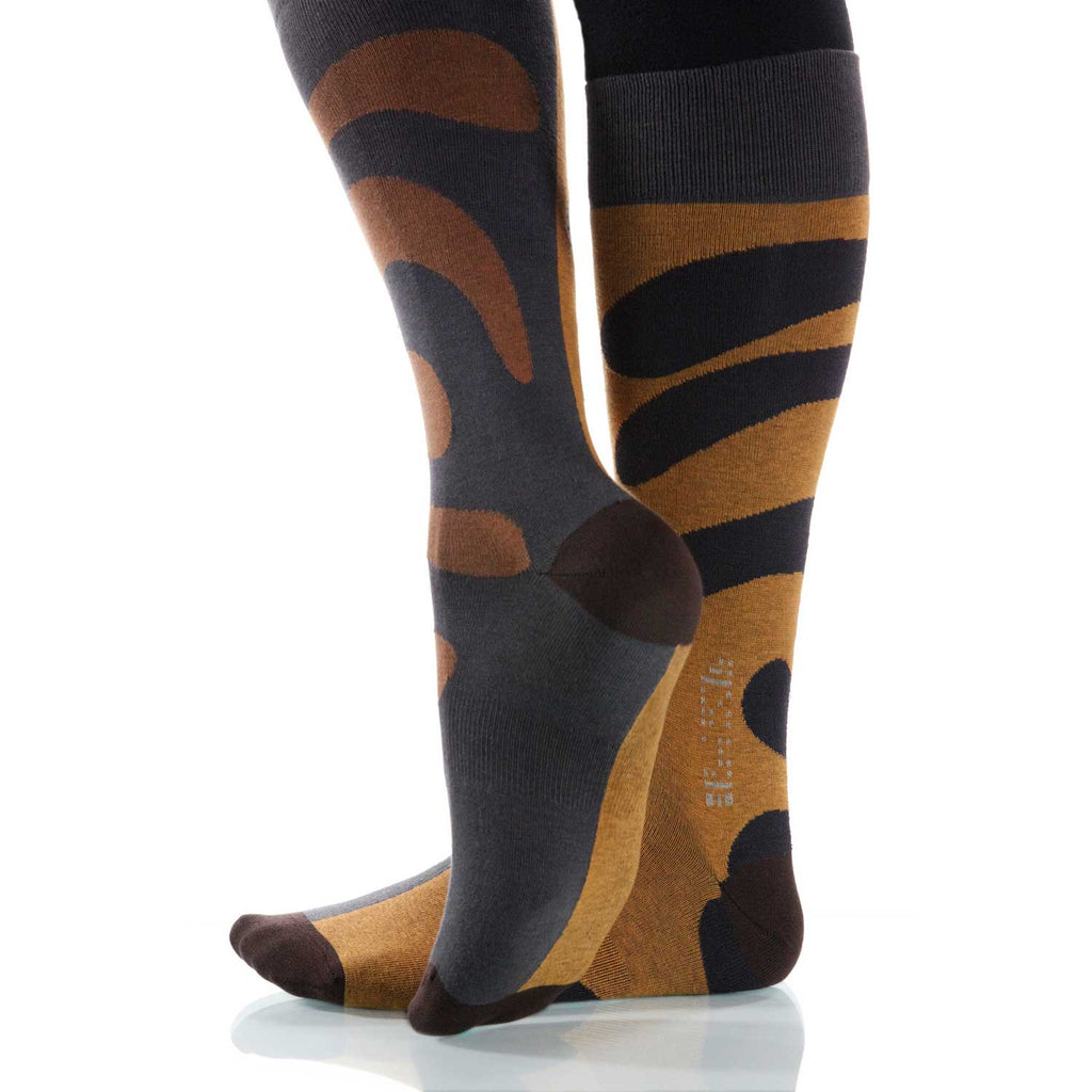 Tan Tango Socks; Men's or Women's Supima Cotton - Tan/Gray - XOAB