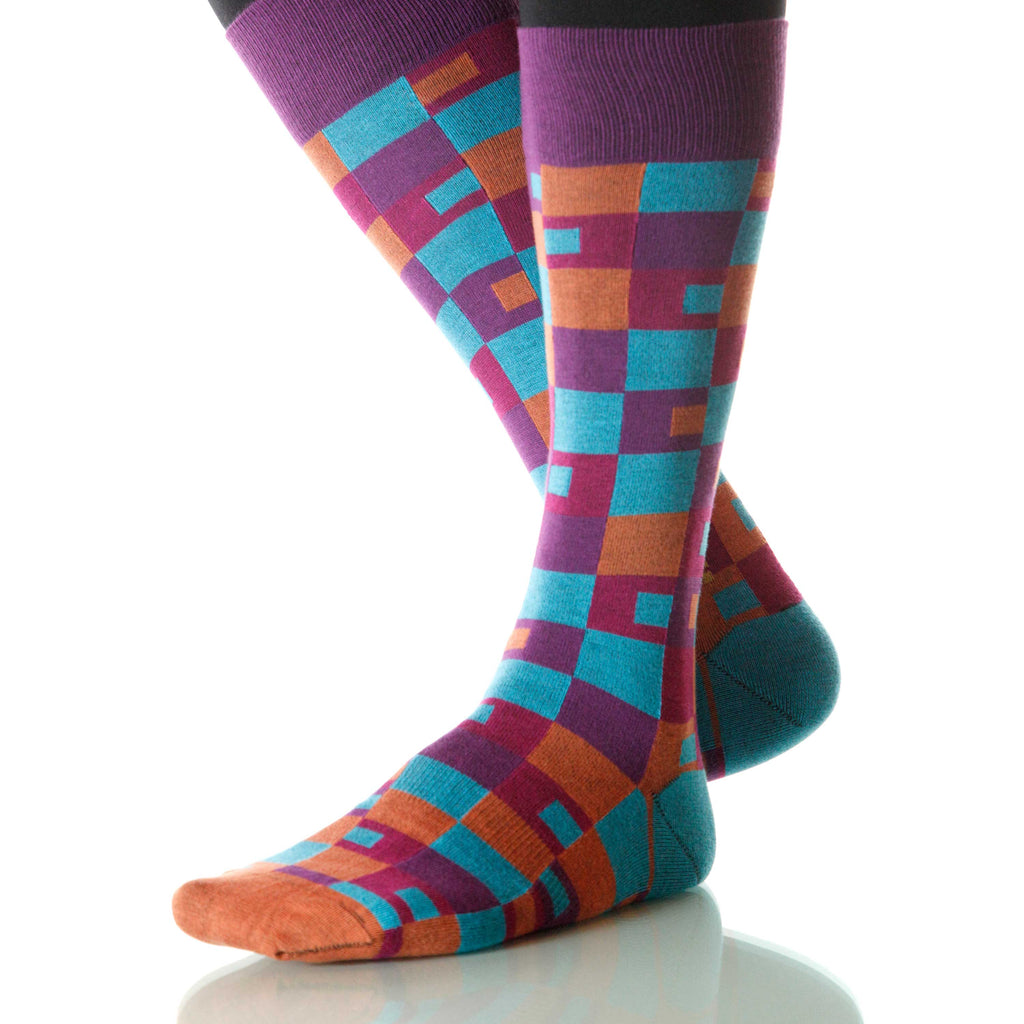 Sunset Taos Socks; Men's or Women's Merino Wool Purple/Orange XOAB