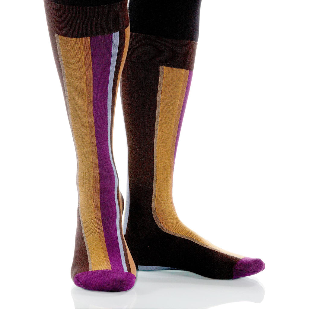 Canyon Vertical Stripe Socks; Men's or Women's Supima Cotton Brown