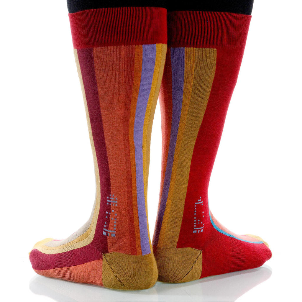 Coral Vertical Stripe Socks; Men's or Women's Supima Cotton Red XOAB
