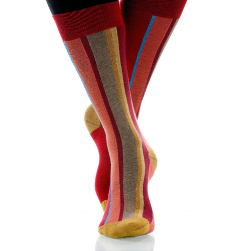 Coral Vertical Stripe Socks; Men's or Women's Cotton Red/Yellow XOAB
