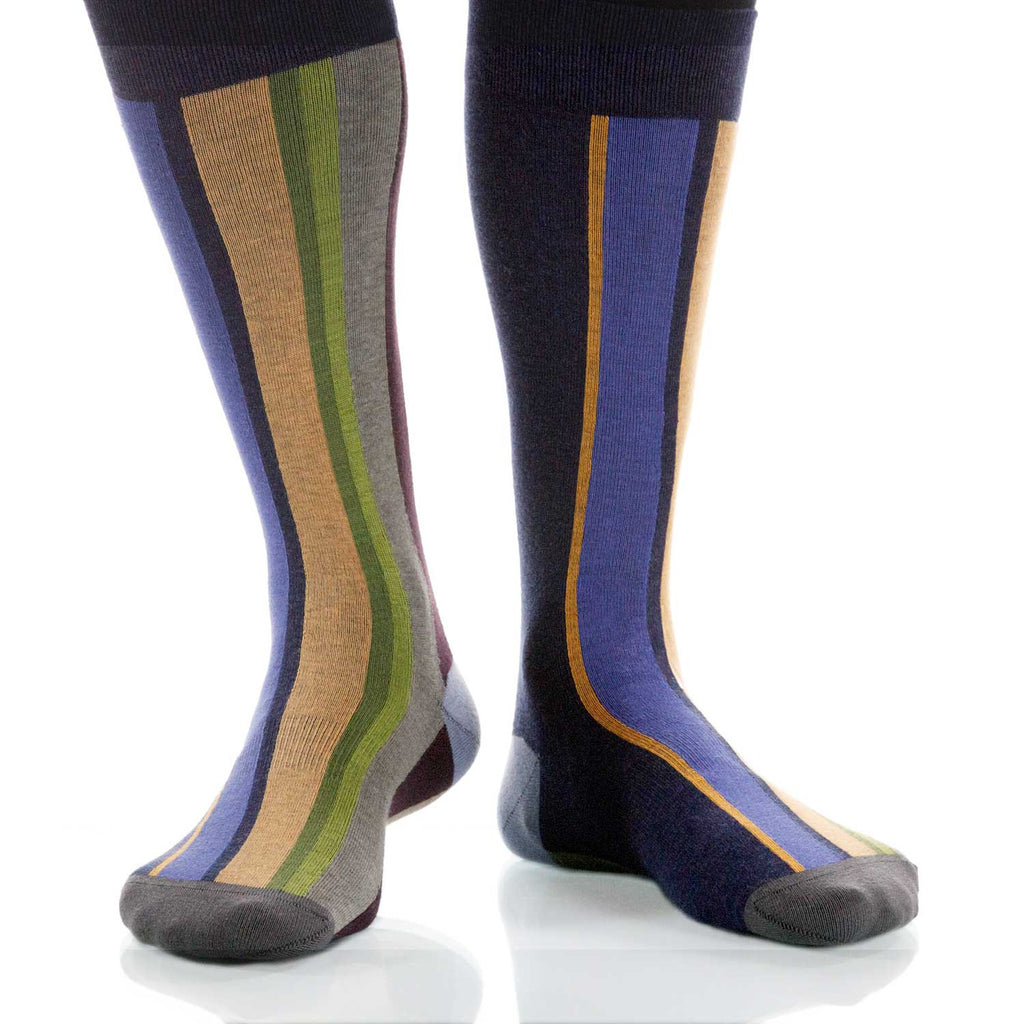 River Vertical Stripe Socks; Men's or Women's Supima Cotton Blue XOAB