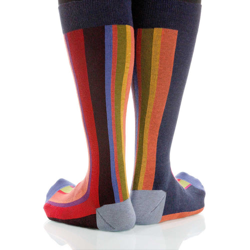 Sunset Vertical Stripe Socks; Men's or Women's Supima Cotton Red XOAB