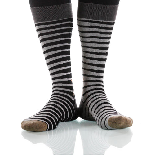 Black & White Zebra Socks; Men's or Women's Supima Cotton Black XOAB