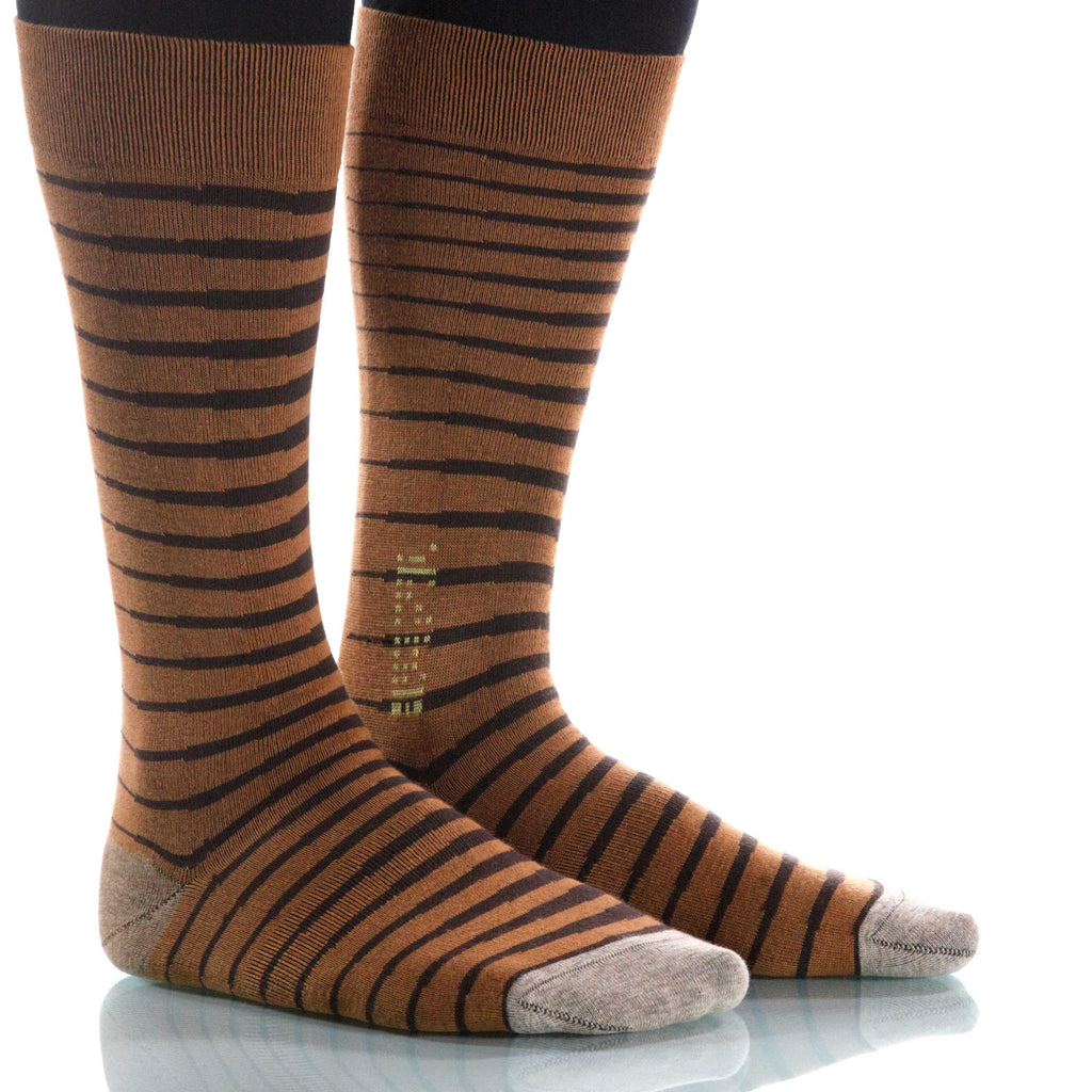 Cacao Zebra Socks; Men's or Women's Supima Cotton - Tan/Brown - XOAB