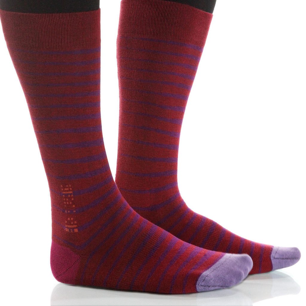 Wine Zebra Socks; Men's or Women's Supima Cotton - Red/Violet - XOAB