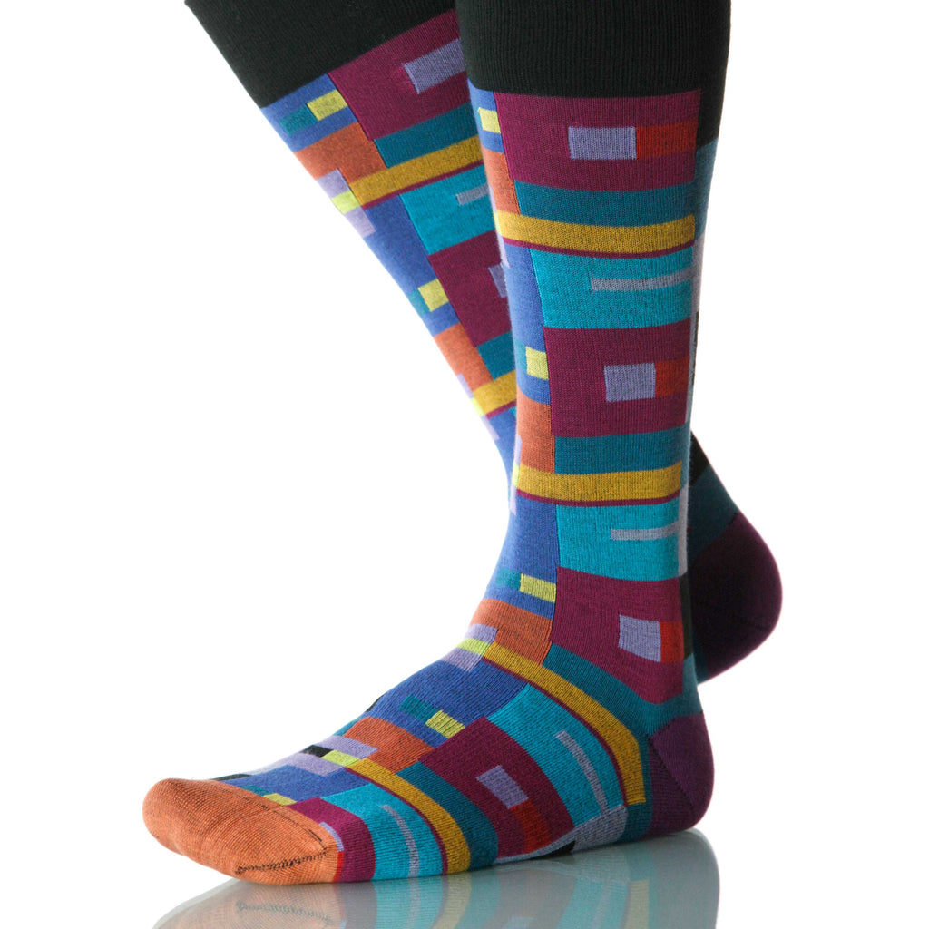 Itten Bauhaus Socks; Men's or Women's Merino Wool - Blue/Black - XOAB