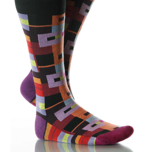 Kandinsky Bauhaus Socks; Men's or Women's Merino Wool Black/Red XOAB