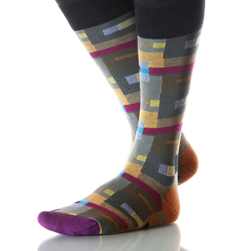 Klee Bauhaus Socks; Men's or Women's Merino Wool - Gray/Yellow - XOAB