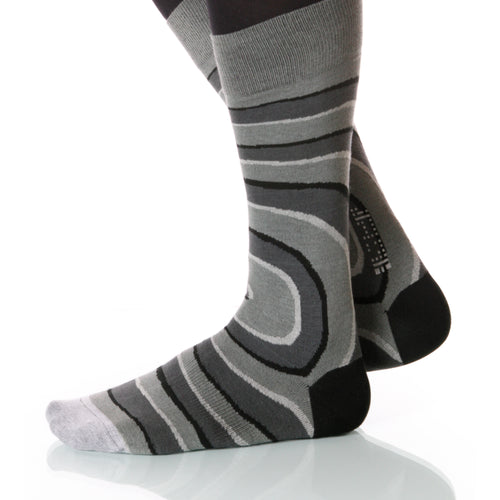 Belltower Gray Vertigo Socks; Men's or Women's Supima Cotton Gray XOAB