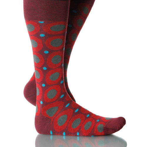 Crimson Calamaro Socks; Men's or Women's Merino Wool - Red - XOAB