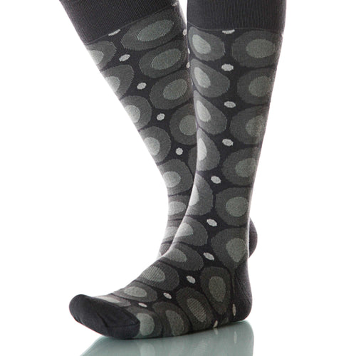 Ink Calamaro Socks; Men's or Women's Merino Wool - Gray/Black - XOAB