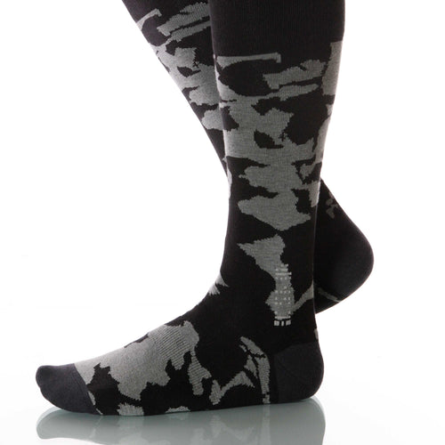 Smoke Canopy Socks; Men's or Women's Supima Cotton - Gray/Black - XOAB