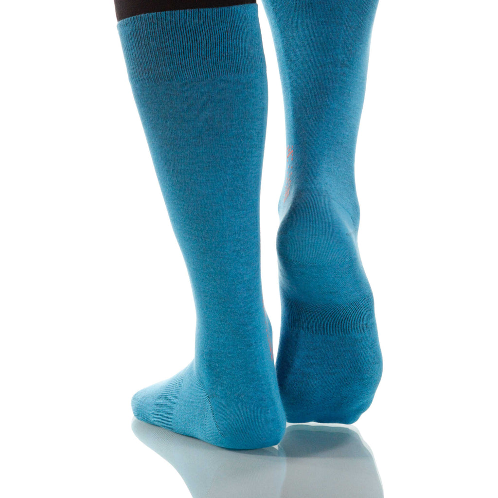 Caribbean Solid Socks; Men's or Women's Supima Cotton - Blue - XOAB