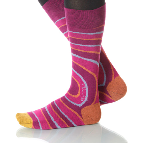 Carlotta Pink Vertigo Socks; Men's or Women's Supima Cotton Pink XOAB