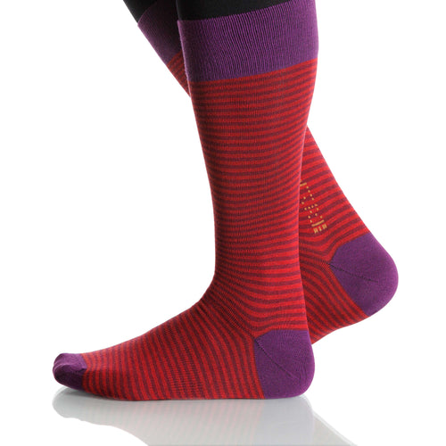 Red Dress Stripe Socks; Men's or Women's Merino Wool - Red - XOAB