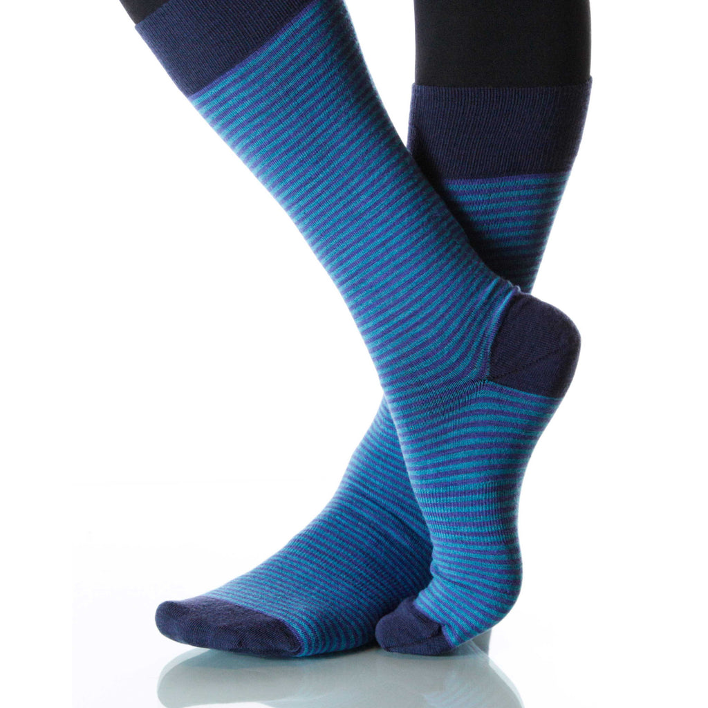 Royal Blue Dress Stripe Socks; Men's or Women's Supima CottonBlueXOAB