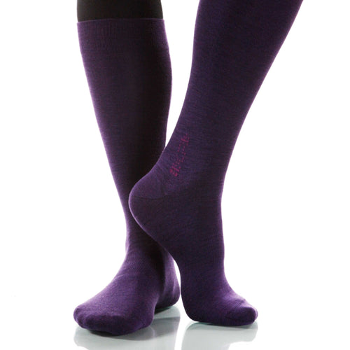 Eggplant Solid Socks; Men's or Women's Supima Cotton - Violet - XOAB