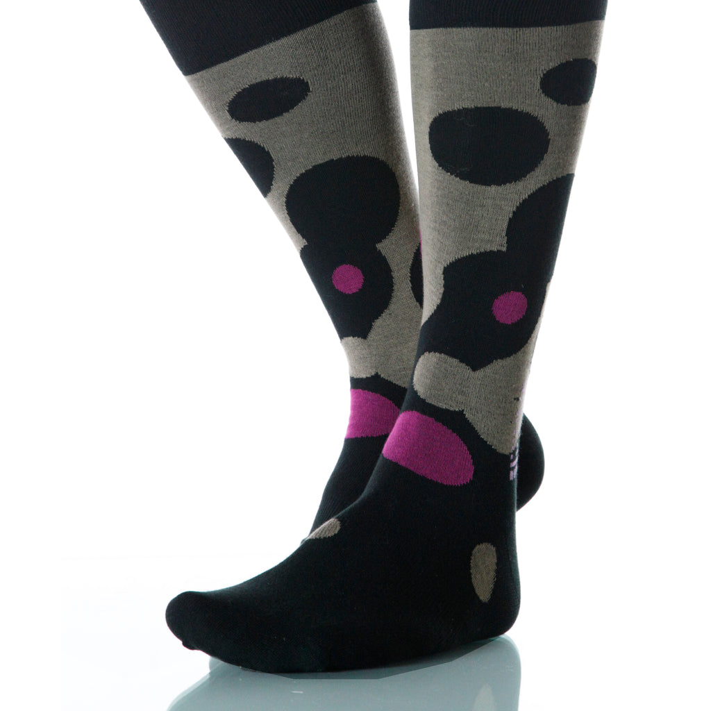 Ouzo Fizz Socks; Men's or Women's Supima Cotton Black/Pink/Brown XOAB