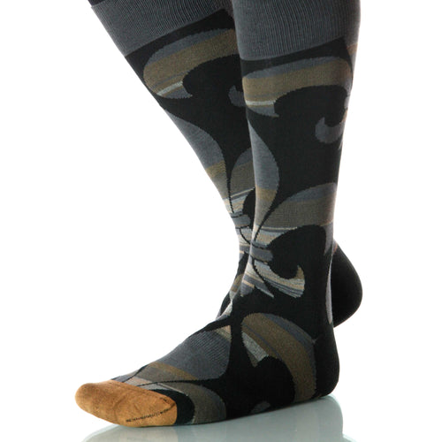 Paris Fleur De Lis Socks; Men's or Women's Merino Wool Gray/Black XOAB
