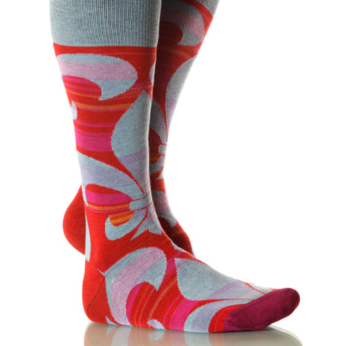 Versailles Fleur De Lis Socks; Men's or Women's Merino Wool Red XOAB