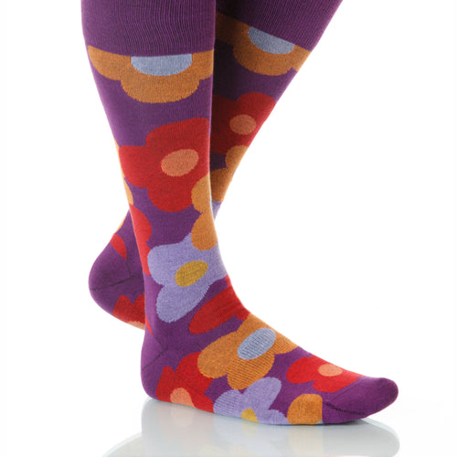 Begonia Flora Socks; Men's or Women's Supima Cotton Purple/Orange XOAB