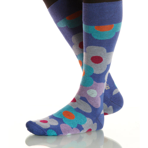 Cornflower Flora Socks; Men's or Women's Supima Cotton - Blue - XOAB