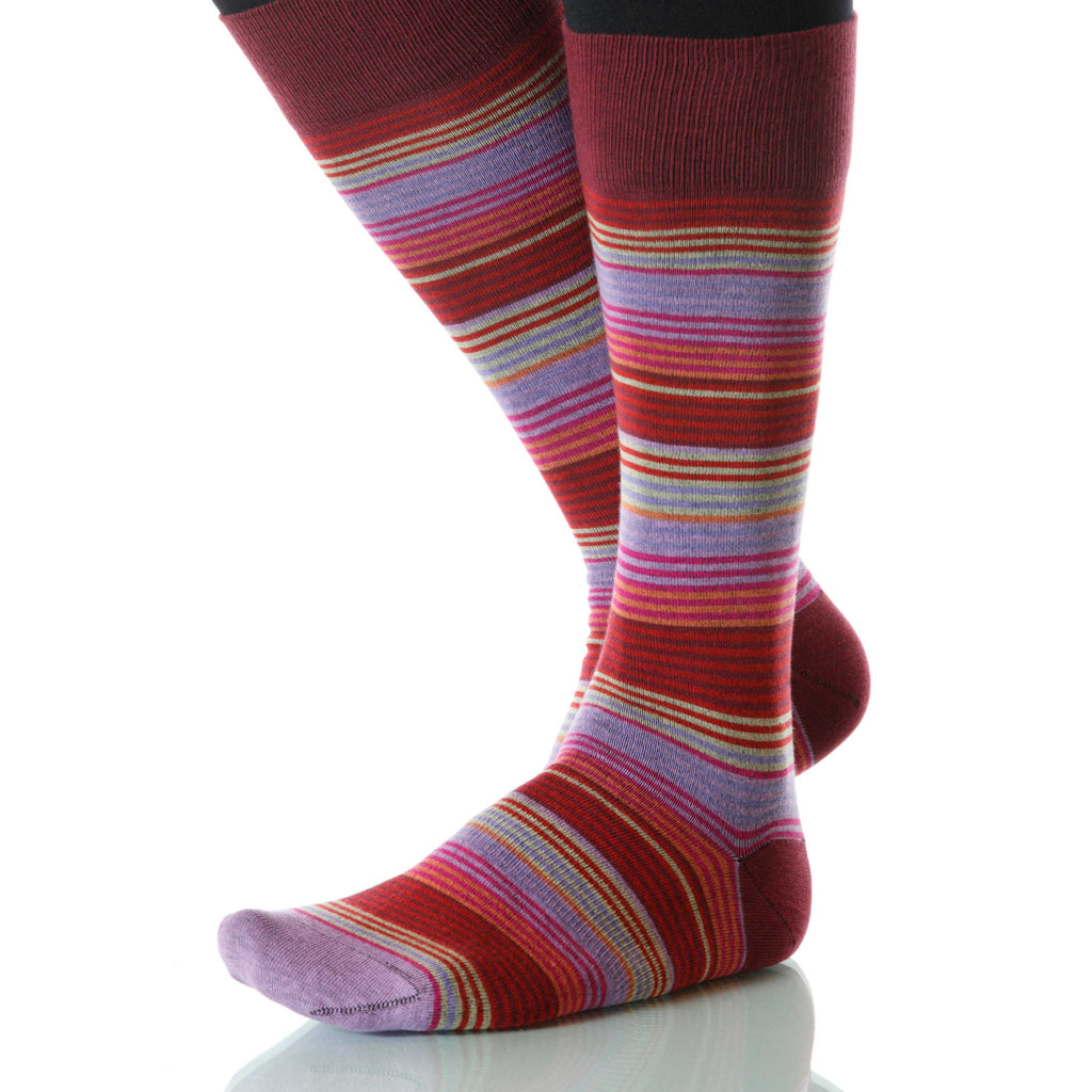 Primrose Garden Stripe Socks; Men's or Women's Merino Wool Red XOAB