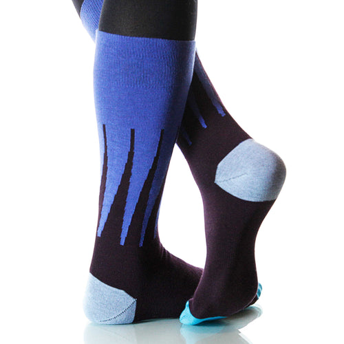 Blue Harlequin Socks; Men's or Women's Supima Cotton - Blue - XOAB