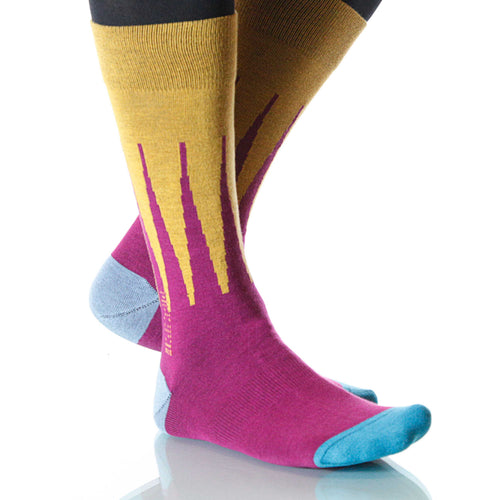 Fuchshia Harlequin Socks; Men's or Women's Merino Wool XOAB