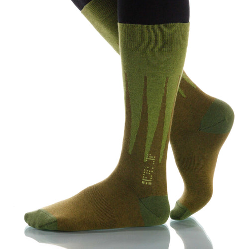 Grass Harlequin Socks; Men's or Women's Merino Wool - Green - XOAB