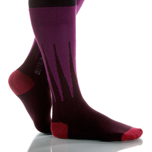 Plum Harlequin Socks; Men's or Women's Merino Wool - Violet - XOAB