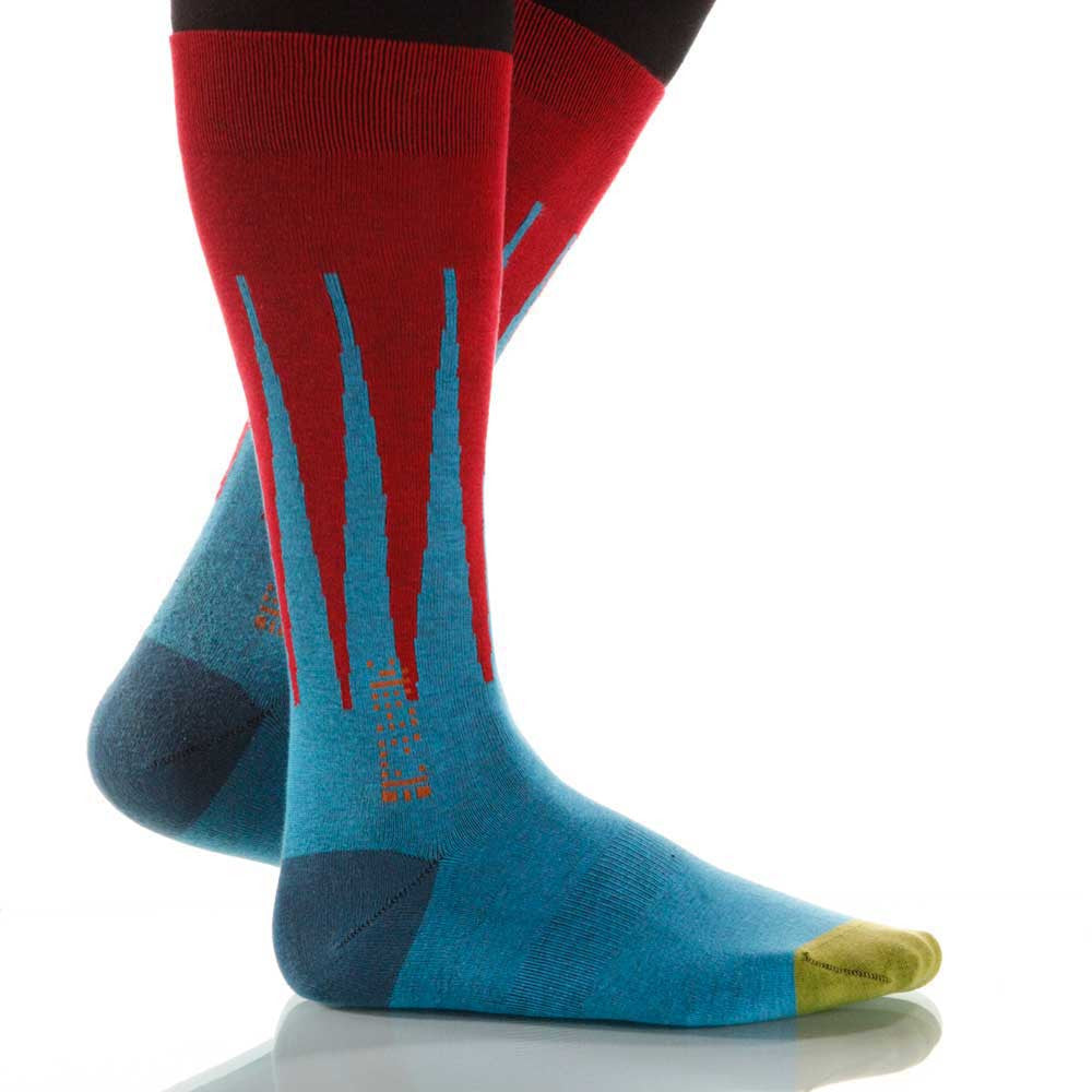 Superhero Harlequin Socks; Men's or Women's Supima Cotton Red XOAB