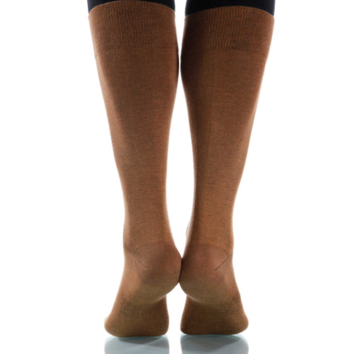 Hazelnut Solid Socks; Men's or Women's Supima Cotton - Brown - XOAB
