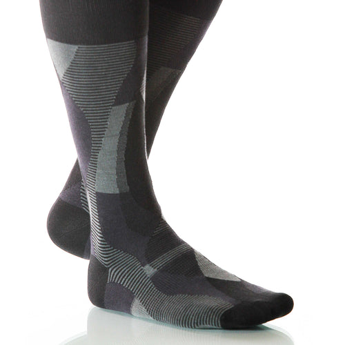 Black Helix Socks; Men's or Women's Supima Cotton - Gray/Black - XOAB