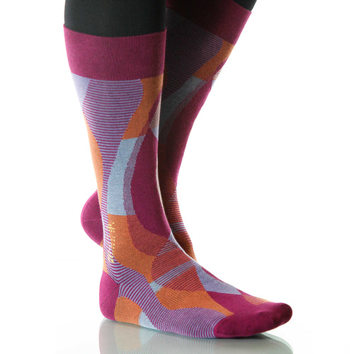 Fuchsia Helix Socks; Men's or Women's Supima Cotton Violet/Orange XOAB