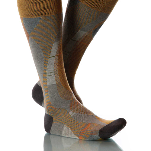 Sienna Helix Socks; Men's or Women's Supima Cotton Tan/Gray XOAB