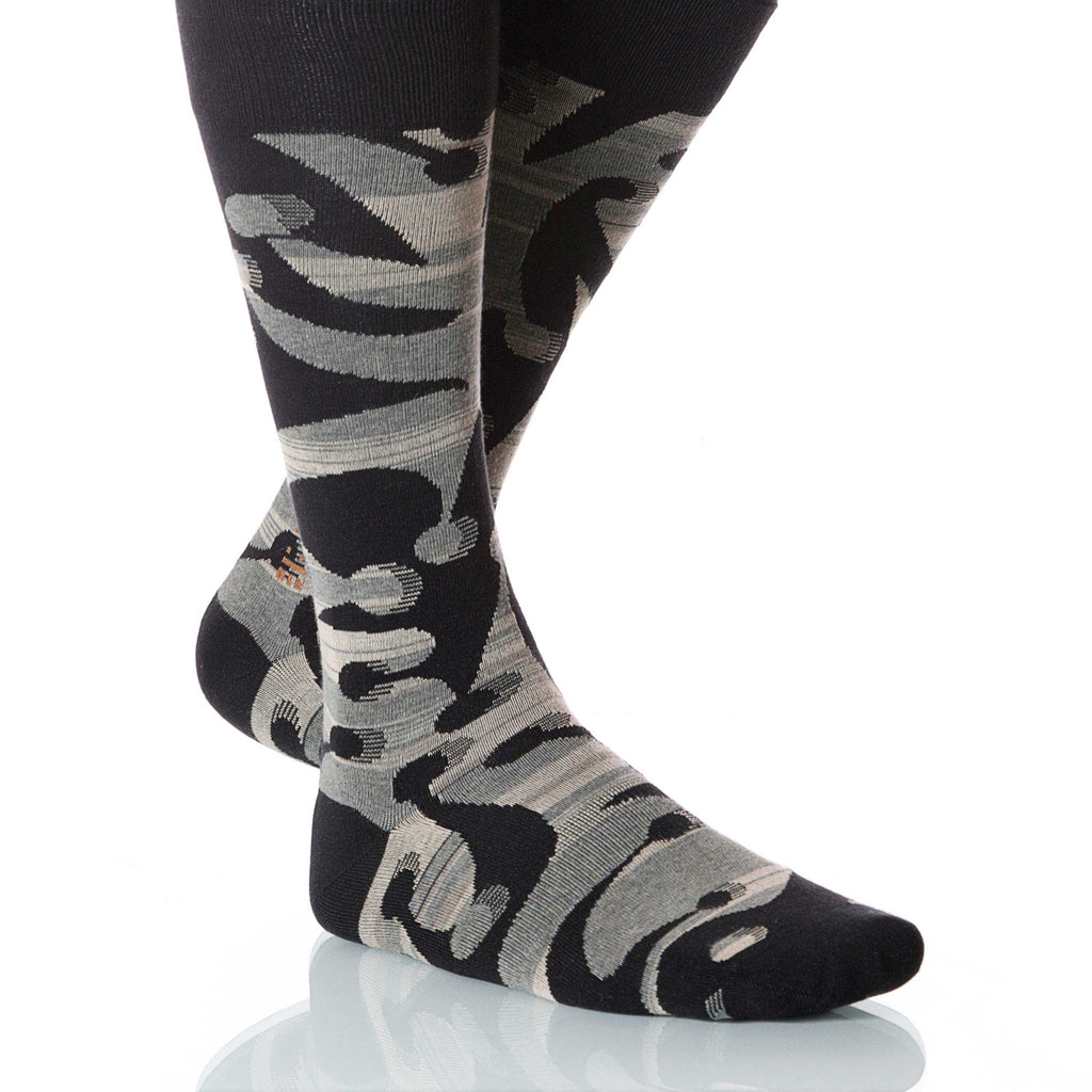 Anise Jesterville Socks; Men's or Women's Supima Cotton Black XOAB