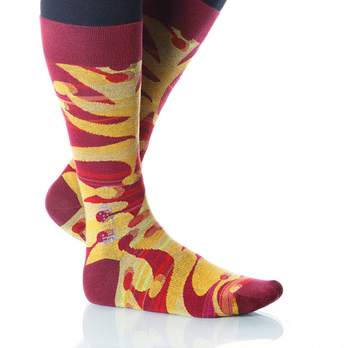Sangria Jesterville Socks; Men's or Women's Supima Cotton Red XOAB