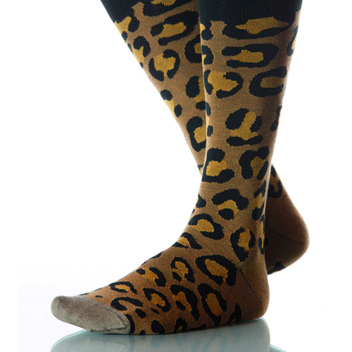 Classic Leopard Socks; Men's or Women's Merino Wool Yellow/Black XOAB
