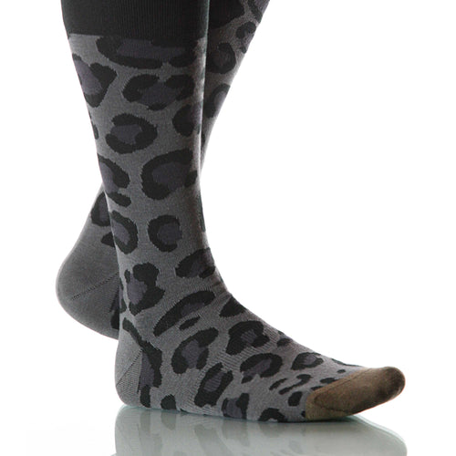 Night Leopard Socks; Men's or Women's Merino Wool - Black/Gray - XOAB