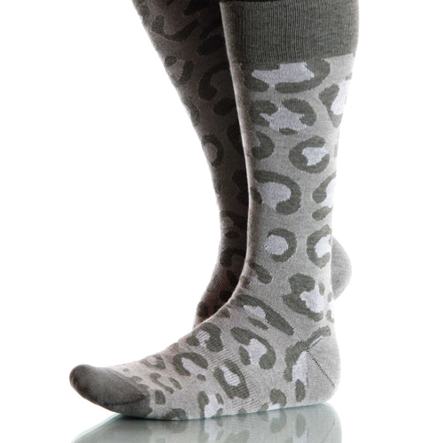 Snow Leopard Socks; Men's or Women's Merino Wool - Gray - XOAB