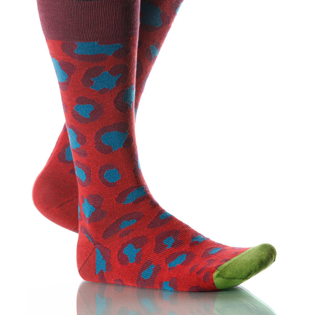 Superhero Leopard Socks; Men's or Women's Merino Wool Red/Blue XOAB