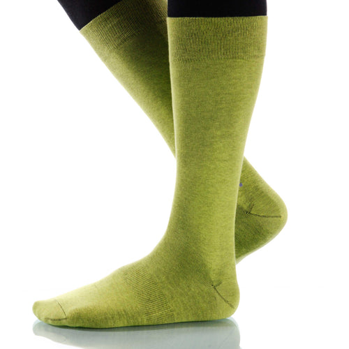 Lime Solid Socks; Men's or Women's Supima Cotton - Green - XOAB