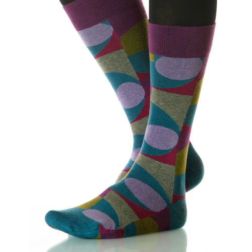 Gibson Martini Socks; Men's or Women's Merino Wool Violet/Blue XOAB